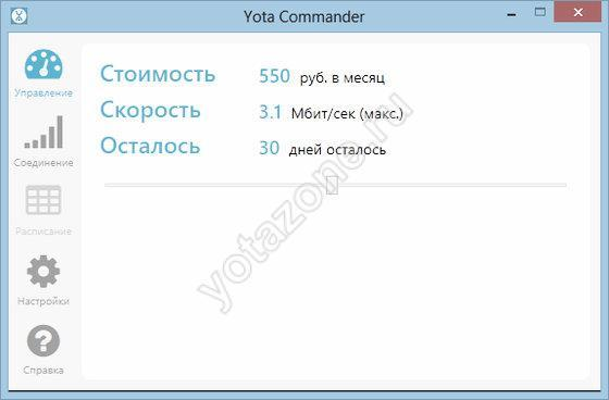 Варианты изменения функций в профиле Yota