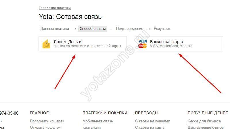 Указываем чем будем платить на Yandex деньгах
