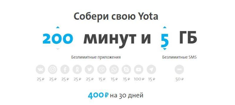 Yota тарифы оператора